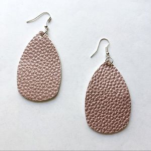 NEW Rose Gold Faux Leather Earrings Spring